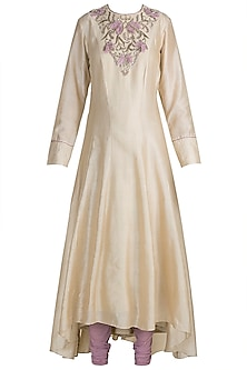 Beige Embroidered Anarkali Set by Adah