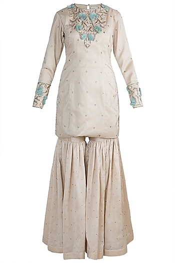 Beige Embroidered Sharara Set by Adah