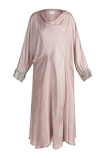 Nude Embroidered Asymmetrical Tunic by Adah