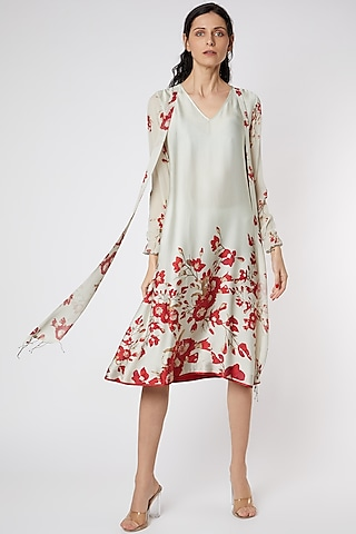 Mint Green & Red Tunic With Floral Print by Adah