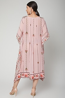 Baby Pink Printed & Embroidered Kaftan Tunic by Adah