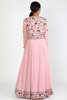 Blush Pink Printed Anarkali Set by Adah