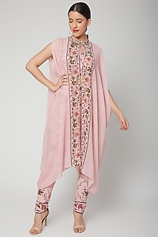 Baby Pink Printed & Embroidered Cape Set by Adah