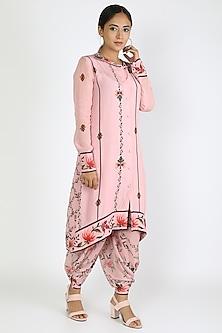 Blush Pink Printed Tunic With Dhoti Pants by Adah