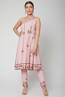 Baby Pink Printed Kurta With Pants by Adah