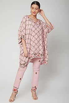 Baby Pink Printed Top With Pants by Adah