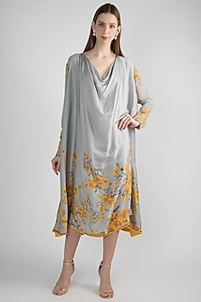 Grey Floral Printed Tunic by Adah