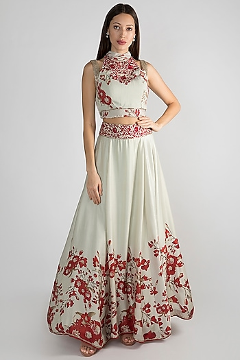 Mint Green Floral Printed Lehenga Skirt With Crop Top by Adah