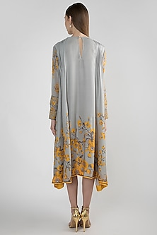 Grey Printed Tunic With Tie-Up by Adah