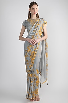 Grey Printed & Embroidered Saree Set by Adah