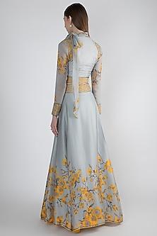 Grey Printed Lehenga Skirt With Crop Top by Adah