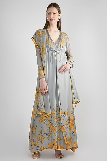 Grey & Yellow Printed Anarkali Set by Adah