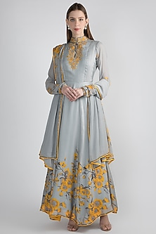 Grey & Yellow Floral Printed Anarkali Set by Adah