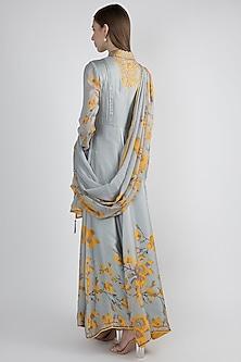 Grey & Yellow Floral Printed Anarkali Set by Adah