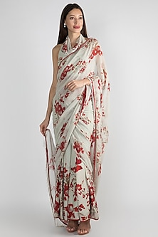Mint Green Floral Printed Draped Saree Set by Adah