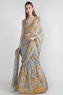 Grey Floral Printed Draped Saree Set With Jacket by Adah