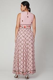 Blush Pink Embroidered Anarkali Set by Adah