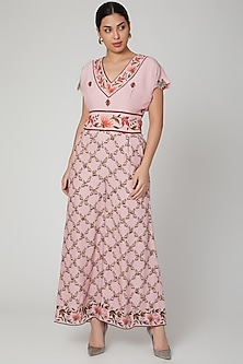 Blush Pink Embroidered Jumpsuit by Adah