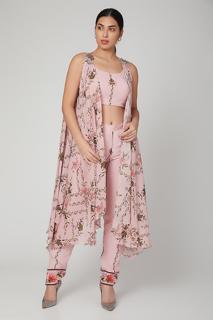 Blush Pink Leaf Printed Bustier With Pants & Cape by Adah