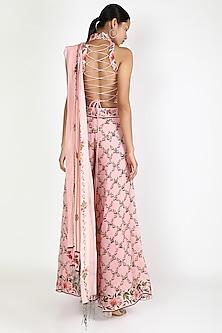 Blush Pink Printed Pant Saree Set by Adah