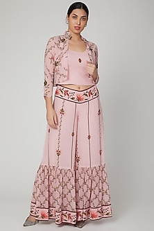 Blush Pink Printed & Embroidered Sharara Set by Adah