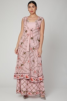 Blush Pink Printed Bustier & Cape Set by Adah