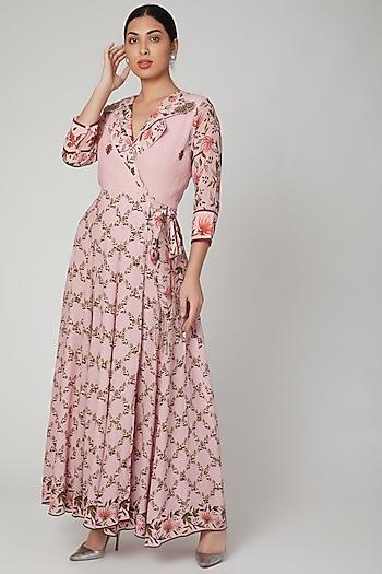 Blush Pink Printed Wrap Dress by Adah