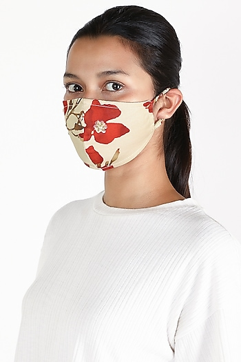 Mint Green Floral Printed Mask by Adah
