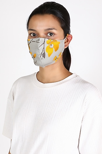 Grey Floral Printed Mask by Adah