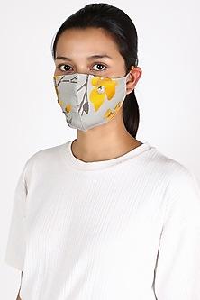 Grey Floral Printed Mask by Adah