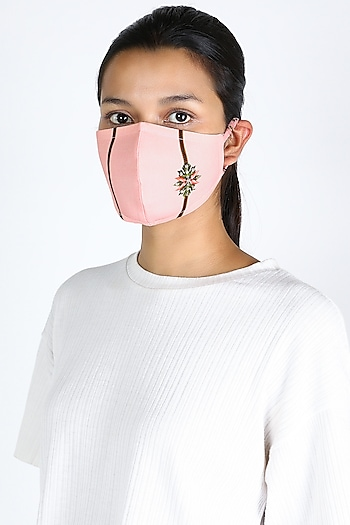 Blush Pink Floral Printed Mask by Adah