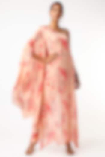 Peach Floral Printed One-Shoulder Kurta Set by Adah