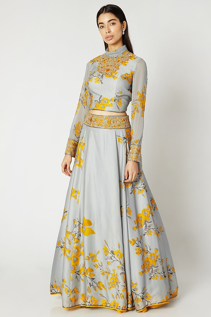 Grey & Yellow Printed Embroidered Crop Top With Skirt by Adah
