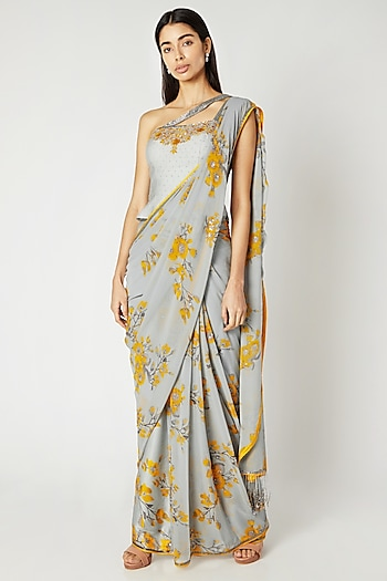 Grey & Yellow Printed Embroidered Draped Saree Set by Adah