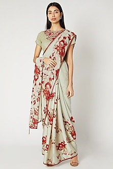 Mint Green & Red Printed Embroidered Saree Set by Adah