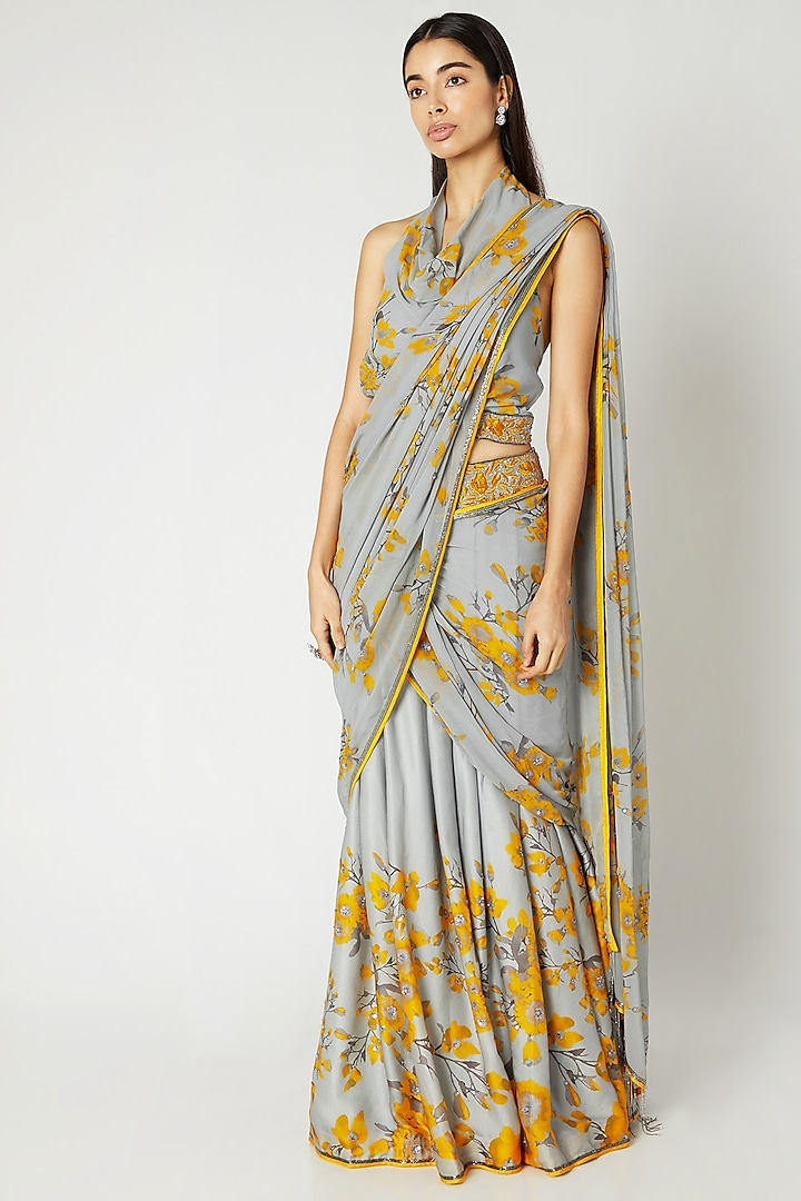 Grey & Yellow Printed Embroidered Pant Saree Set by Adah