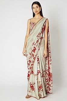 Mint Green Printed Embroidered Saree Set by Adah-SHOP BY STYLE