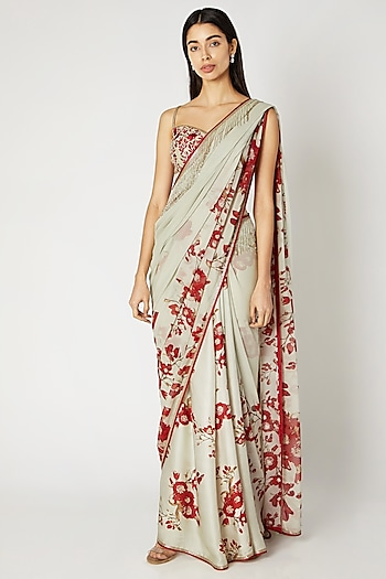 Mint Green Printed Embroidered Saree Set by Adah
