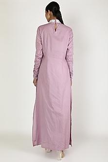 Purple Embroidered Anarkali Set by Adah