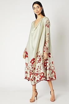 Mint Green Printed Embroidered Tunic by Adah