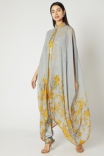 Grey Printed Embroidered Cape Set by Adah