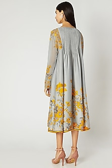 Grey Printed Embroidered Tunic by Adah