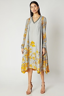 Grey & Yellow Printed Embroidered Tunic by Adah