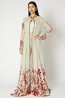 Mint Green & Red Printed Embroidered Cape Set by Adah