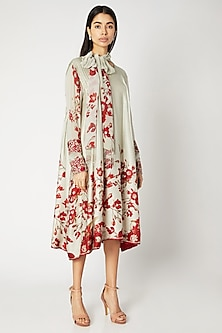 Mint Green & Red Printed Embroidered Tunic With Neck-Tie by Adah