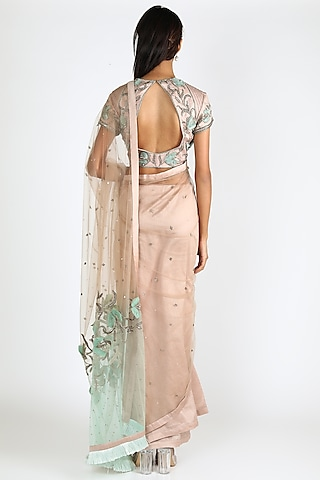 Nude & Powder Blue Embroidered Saree Set by Adah