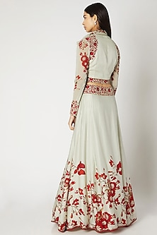 Mint Green & Red Printed Embroidered Crop Top With Attached Neck-Tie & Skirt by Adah