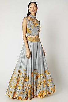 Grey & Yellow Printed Embroidered Crop Top With Skirt by Adah-SHOP BY STYLE