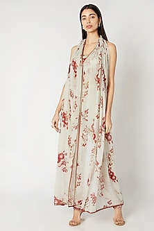 Mint Green & Red Printed Embroidered Gathered Cape Set by Adah