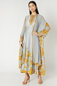 Grey & Yellow Printed Embroidered Anarkali Set by Adah